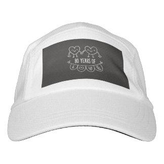 80. Jahrestags-Geschenk-Kreide-Herzen Headsweats Kappe