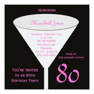 80. Toast der Geburtstags-Party Einladungs-80. Quadratische 13,3 Cm Einladungskarte