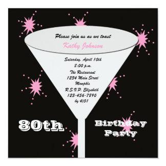 80. Toast des Geburtstags-Party Quadratische 13,3 Cm Einladungskarte