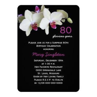 80. Überraschungs-Geburtstags-Party-Orchideen auf 12,7 X 17,8 Cm Einladungskarte