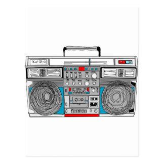 80er boombox Illustration Postkarte