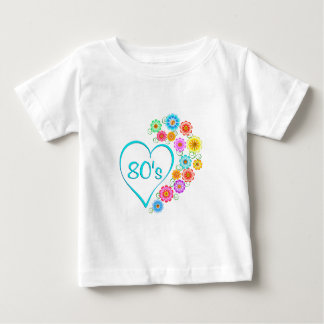 80er Herz-Blume Baby T-shirt