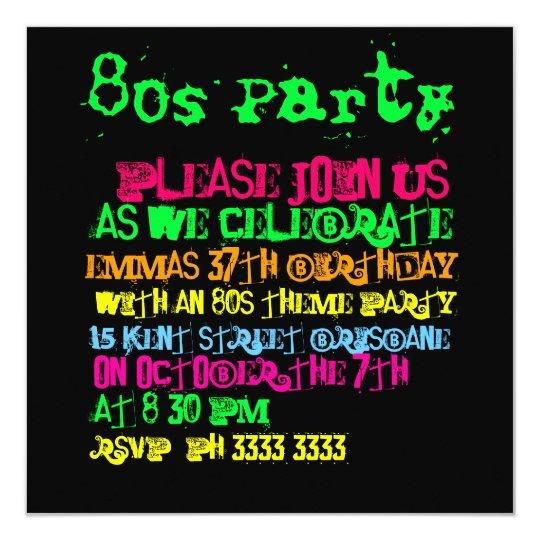 50 Einladungskarten 80er 80s Geburtstag Jedes Alter!! Einladungen,  Einladungs