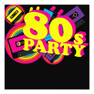 80er Party Quadratische 13,3 Cm Einladungskarte