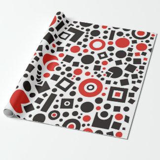 80er rot u. weißes geometrisches Muster Retro Geschenkpapier