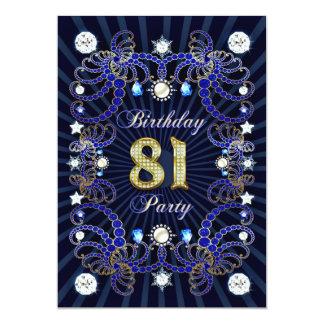 81. Geburtstags-Party laden mit Massen der Juwelen Einladungskarte