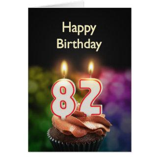 82. Geburtstag mit Kuchen und Kerzen Karte