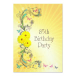 85th Geburtstags-Party Einladung mit gelben Blumen 12,7 X 17,8 Cm Einladungskarte
