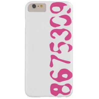 8675309 Telefon-Kasten-Weiß mit rosa Zahlen - Barely There iPhone 6 Plus Hülle