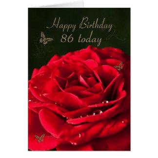 86. Geburtstags-Karte mit einer klassischen Roten Karte