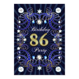 86. Geburtstags-Party laden mit Massen der Juwelen 12,7 X 17,8 Cm Einladungskarte