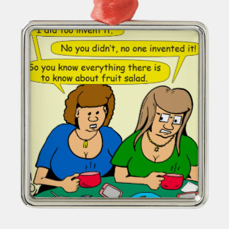 873 wer Fruchtsalat-Cartoon erfand Quadratisches Silberfarbenes Ornament