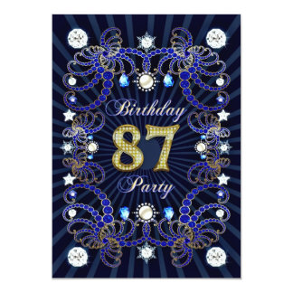 87. Geburtstags-Party laden mit Massen der Juwelen 12,7 X 17,8 Cm Einladungskarte