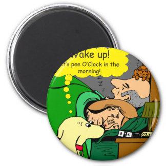 881 Pipiuhr im Morgen-Cartoon Runder Magnet 5,7 Cm