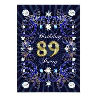 89. Geburtstags-Party laden mit Massen der Juwelen 12,7 X 17,8 Cm Einladungskarte