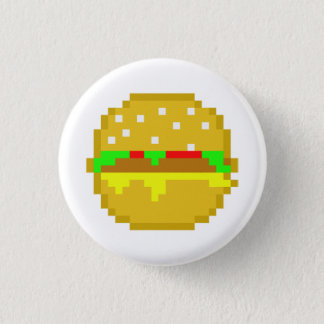 8 Bit-Hamburger Runder Button 2,5 Cm