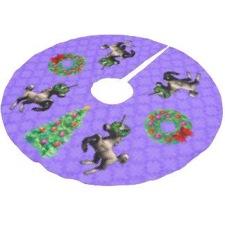 """""""8-Bitweihnachts"""" Baum-Rock (lila) Polyester Weihnachtsbaumdecke"""