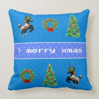 """8-Bitweihnachts"" Quadrat-Wurfs-Kissen (blau) Kissen"