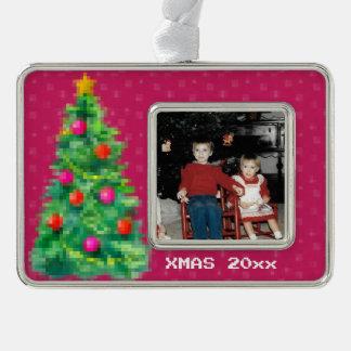 """""""8-Bitweihnachtsbaum-"""" Foto-Verzierung (dunkles Rahmen-Ornament Silber"""