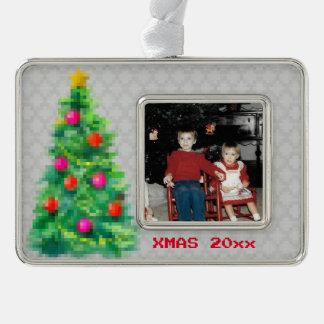 """""""8-Bitweihnachtsbaum-"""" Foto-Verzierung (grau) Rahmen-Ornament Silber"""