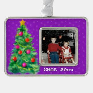 """8-Bitweihnachtsbaum-"" Foto-Verzierung (lila) Rahmen-Ornament Silber"