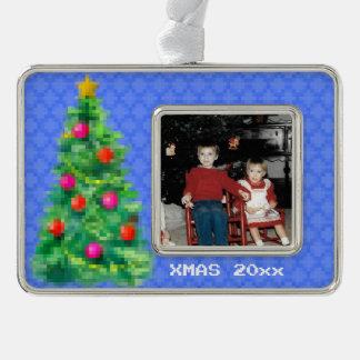 """8-Bitweihnachtsbaum-"" Foto-Verzierung (lt Blue) Rahmen-Ornament Silber"