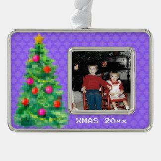 """""""8-Bitweihnachtsbaum-"""" Foto-Verzierung (lt Purple) Rahmen-Ornament Silber"""