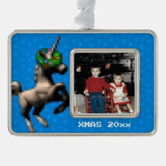 """""""8-Bitweihnachtsunicorn-"""" Foto-Verzierung (blau) Rahmen-Ornament Silber"""