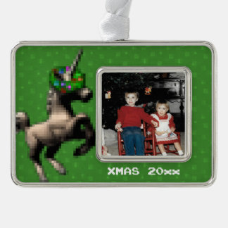 """""""8-Bitweihnachtsunicorn-"""" Foto-Verzierung (Grün) Rahmen-Ornament Silber"""