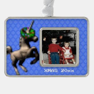 """""""8-Bitweihnachtsunicorn-"""" Foto-Verzierung (lt Rahmen-Ornament Silber"""