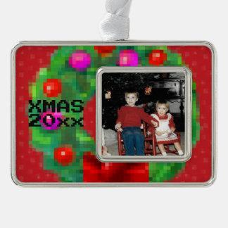 """""""8-Bitweihnachtswreath-"""" Foto-Verzierung (rot) Rahmen-Ornament Silber"""