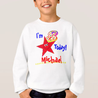 8. Geburtstags-Party-Shirt-rote smiley-Sterne Sweatshirt