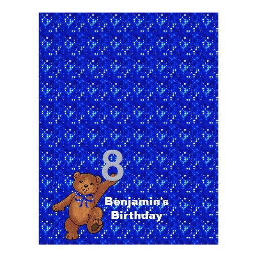 8. Geburtstags-Tanzen-Bärn-Einklebebuch-Papier 3 Bedruckte Flyer