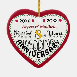 8. Jahrestags-Geschenk-Herz-geformtes Weihnachten Keramik Ornament