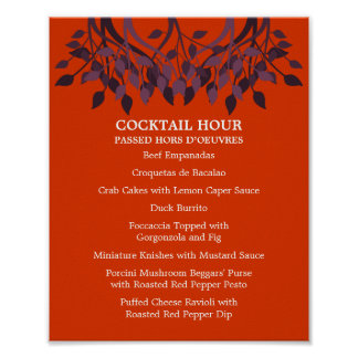 8 x 10 Cocktail-Tisch-Menü für das Feld Poster