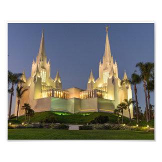 8X10 San Diego LDS Tempel nachts Fotodruck