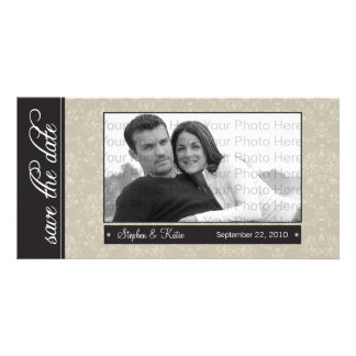 """8x4"""" TAN Barock-Save the Date Foto-Mitteilung Karte"""