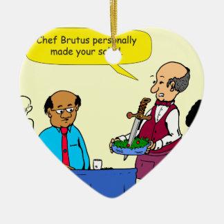 904 KochBrutus machte den Salat-Cartoon Keramik Herz-Ornament