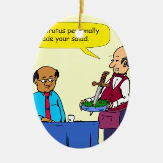 904 KochBrutus machte den Salat-Cartoon Ovales Keramik Ornament