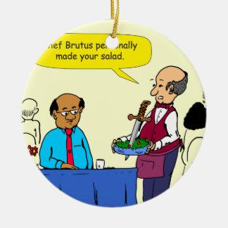 904 KochBrutus machte den Salat-Cartoon Rundes Keramik Ornament
