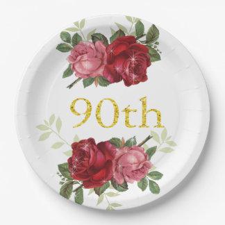 90. Geburtstag, elegante, rote Vintage Rosen, Pappteller