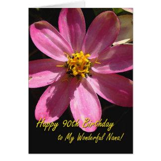 90. Geburtstag für Nana, rosa Blume Karte