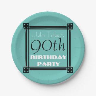 90. Geburtstag Party-Retro Feldpapier-Teller Pappteller