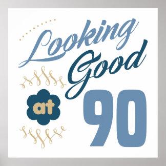 90. Geburtstag schauend gut Poster