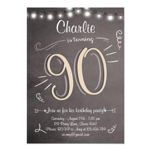 ... 90. Geburtstags Einladungs Vintager Neunzig 12,7 X 17,8 Cm ...