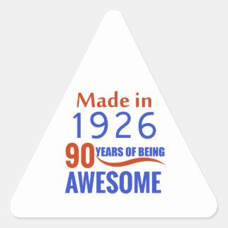 90-Geburtstags-Entwurf Dreieckiger Aufkleber