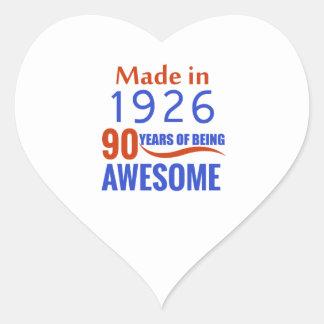 90-Geburtstags-Entwurf Herz-Aufkleber