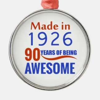 90-Geburtstags-Entwurf Rundes Silberfarbenes Ornament