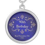 90. Geburtstags-Halskette - Vintager Rahmen-Anhäng