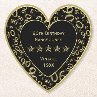 90. Geburtstags-Party-Gold/schwarzes Thema Untersetzer